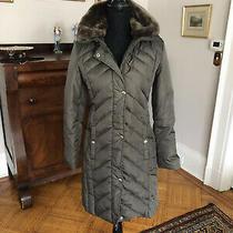 Michael Kors Puffer Down Green Winter Coat Removable Hood  Faux Fur Collar Xs Photo