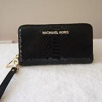 Michael Kors Purse Python Embossed Leather Cell Iphone Case Bag Wristlet Wallet Photo