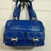 Michael Kors Ranger Royal Blue Patent Leather Satchel Double Pocket Handbag Purs Photo