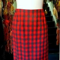 Michael Kors Red/black Plaid Wool Skirt Made in Italy 12 Photo