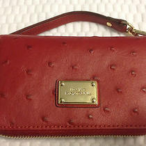 Michael Kors Red Ostrich Leather Zip-Around  Iphone Case Wristlet Wallet New Photo