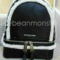 Michael Kors Rhea Zip Leather Fur Trim M Backpack Bag Purse Black Natural New Photo