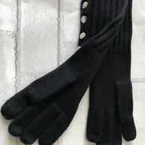 Michael Kors Ribbed Knit Gloves. Black Silver Stamped Mk Buttons. Msrp 48  Photo