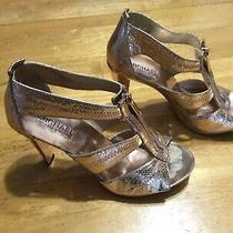 Michael Kors Rose Gold Sandals Shoes Front Zipper Heels Womens Size 6.5 Photo