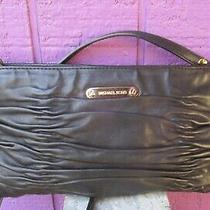 Michael Kors Ruched Black Leather Crossbody Shoulder Bag Clutch Purse Photo