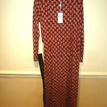 Michael Kors Russet Plum/leaf Print Maxi Dress With Leather Belt Bnwt Size M Photo