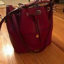 Michael Kors Saffiano Leather Greenwich Crossbody Medium Bucket Bag - Red Photo