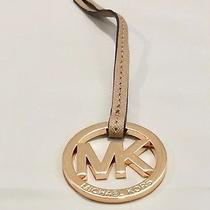 Michael Kors Saffiano Leather/metal Handbag Charm Name Tag Dark Khaki/gold  Nwot Photo