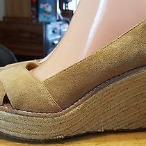 Michael Kors Sandals Wedges Brown Size 9 1/2-M Suede Slip on Nice Photo