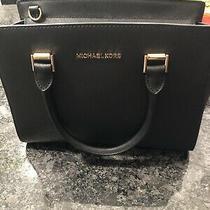Michael Kors Selma Black Saffiano Leather Medium Satchel Purse Bag Photo