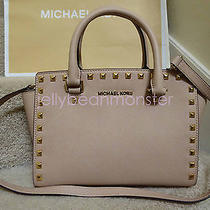 Michael Kors Selma Stud Leather Top Zip Medium Satchel Bag Purse Blush New Tag Photo