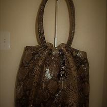 Michael Kors Shoulder Bag Snakeskin Embossed Leather Mk Logo Charm H 12