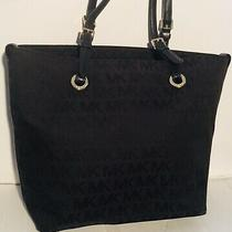 Michael Kors Signature Shoulder Jet Set Hobo Tote Handbag Black Leather Trim Photo