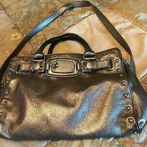 Michael Kors Silver Metallic Chain Strap Crossbody Leather Handbag Photo