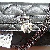 Michael Kors Sloan Clutch Bag Quilt Flap Hobo Gray Gunmetal Pewter Metallic New Photo