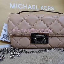 Michael Kors Sloan Quilted Leather Messenger Shoulder Flap Bag Silver Blush S Photo