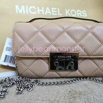 Michael Kors Sloan Quilted Leather Messenger Shoulder Flap Bag Silver Blush S Photo