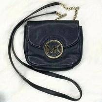 Michael Kors Small Black Leather Gold Chain Flap Crossbody Bag Purse Euc Photo