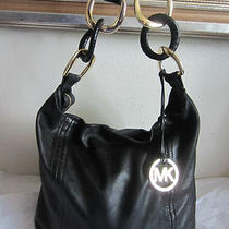 Michael Kors Soft Calf Hobo Black Leather Shoulder Tote Hand Bag Dust Photo