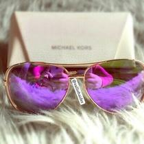 Michael Kors Sunglasses Rose Gold Purple Mirror Lens Aviator Glasses With Case Photo
