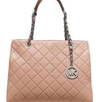 Michael Kors Susannah Quilted Leather Large Tote Blush Photo