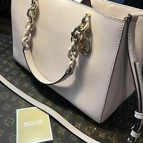 Michael Kors Teagen Medium Jetset Chain Satchel Bag Powder Blush Pink Mint Photo