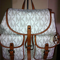 Michael Kors Vanilla Signature Large Backpack With Leather Trim Rare Photo