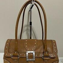 Michael Kors Vintage Saddle Leather Shoulder Handbag Studded Silver Purse Photo