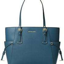 Michael Kors Voyager East West Leather Tote Blue Chambray New Free Shipping Photo