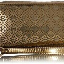 Michael Kors Wallet Clutch Jet Set Travel Medium Gold Flower Slim Bifold Leather Photo