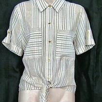 Michael Kors White & Gold Striped Shirt Size Med 12 (Wore Once) Photo