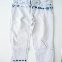 Michael Kors White With Blue Pattern Cropped Jeans Women's 2 Photo