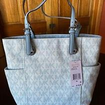 Michael Kors Woman's Handbag With Checkbook - Baby Blue & White. Multiple Pocket Photo