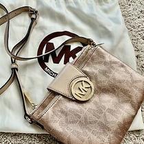 Michael Kors Women Leather Crossbody Handbag Purse Messenger Shoulder Rose Gold Photo