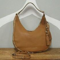 Michael Kors Women's Brown Leather Gold Stitching Hobo Shoulder Bag Purse Photo