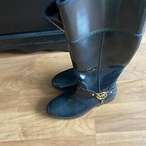 Michael Kors Womens Black Tall Glossy Rubber Rain Boots Size 8 Photo