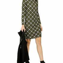 Michael Kors Womens Green Plaid Long Sleeve Knee Length Shift Dress Size S Photo