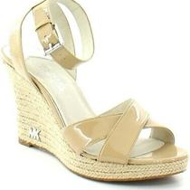Michael Kors Womens Size 9.5 Kami Nude/beige Patent Leather Wedge Sandals  Photo