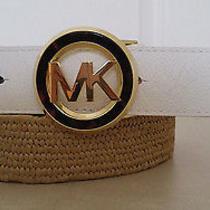 Michael Kors Womens Stretch Straw/white Leather Belt Size Xl Nwt Photo