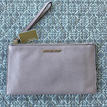Michael Kors Wristlet Handbag Jet Set Lg Zip Clutch Leather Powder Blush Nwt Photo