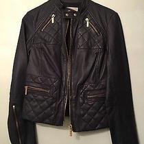 Michael Kors Xs Blue Leather Motorcycle Jacket Photo