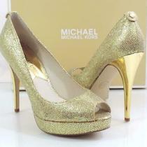 Michael Kors York Evening Platform Open Toe Pumps Heels Gold Glitter Size 9 Photo