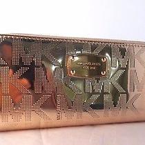 Michael Kors Zip Around Metallic Mirror Rosegold Nickel Wallet Clutch New Gift Photo