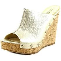 Michael Michael Kors Belinda Womens Size 9.5 Gold Leather Wedge Sandals Shoes Photo