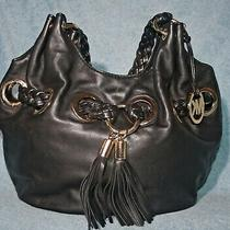 Michael Michael Kors Black Leather Hobo Tassled With Braided Handles Photo