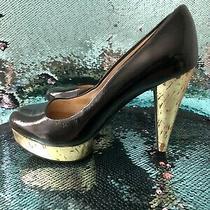 Michael Michael Kors Black Patent Leather & Gold Cork Platform Pumps Size 8.5 Photo