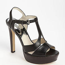 Michael Michael Kors Camilla T-Strap Black Sandal Heel  -  8m - Euc Photo