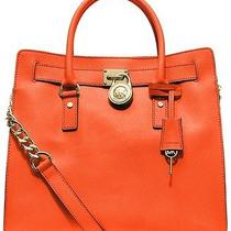 Michael Michael Kors Hamilton Large Ns Tote in Clementine Orange Leather New Photo
