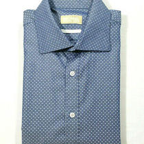 Michael Michael Kors Men Size 16 34/35 Dress Shirt Polka Dot Blue White Slim Fit Photo
