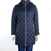 Michael Michael Kors Packable Down Jacket Puffer Coat Hooded Navy Large New Photo